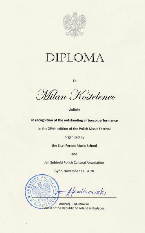Diplom pro houslistu Milana Kostelence