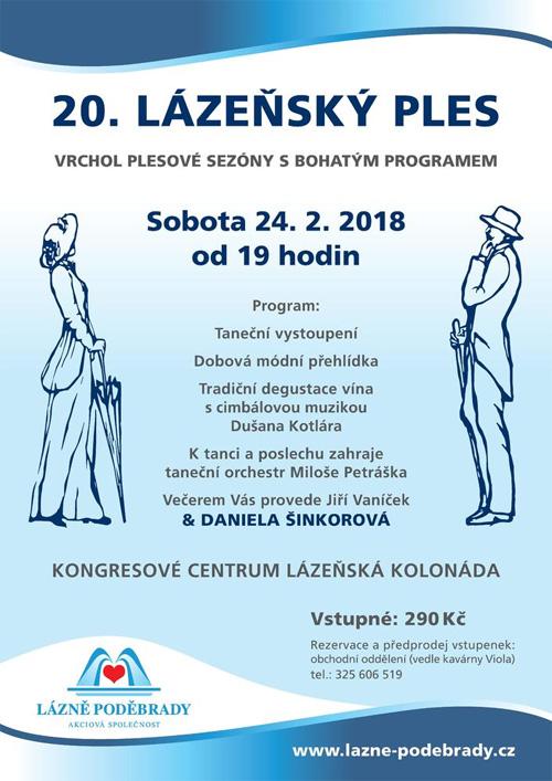 Lázně Poděbrady pořádají 20. lázeňský ples
